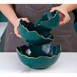 Ensaladera para cocina redonda verde