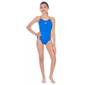Vestido de bano jovencita azul y naranja deportivo