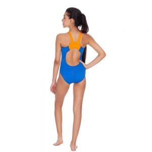 Vestido de bano jovencita enterizo combinacion azul y naranja